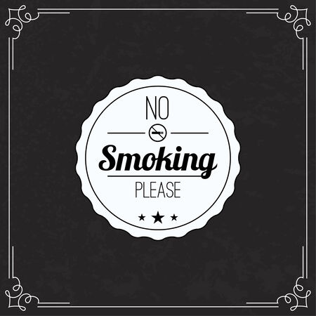 Please no smoking label. No smoke tag. Stop smoking symbol. Old vintage frame with sticker banning smoking in this place.