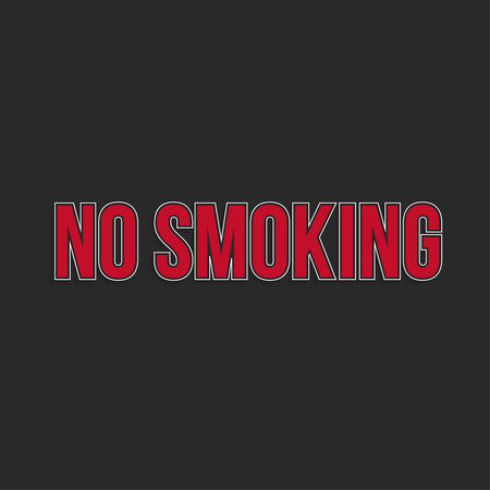 smoldering cigarette: No smoking sign. No smoke inscription, text Vector.  Area for non-smokers