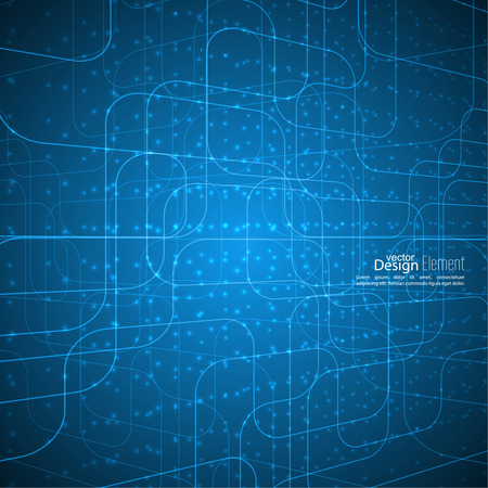 cyberspace: Abstract vector background with glowing grid. Architectural plan. technology, science and research. cyberspace to cells. atom, molecule, electron micro particles