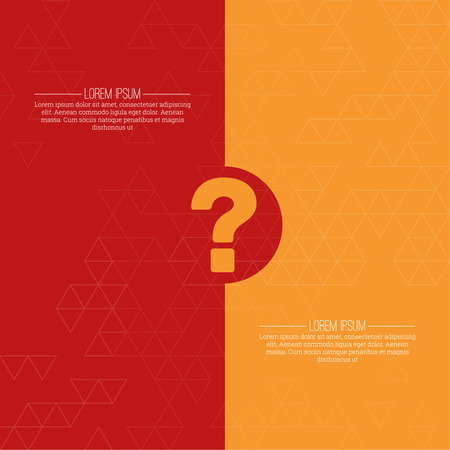 questionail: Question mark icon. Help symbol. FAQ sign on a yellow and red background with the texture of the triangles. vector