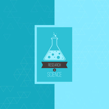 erlenmeyer: Science and research label. Tag with chemical flask, reagent and ribbon. Background texture with triangles and  sticker. Scientific research. Discovery . blue, green. for magazine, book cover,  annual report, web design, mobile app