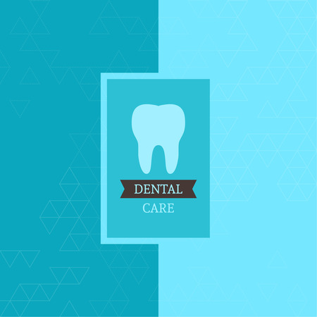 carious: Dental  care label. Tag with tooth and ribbon. Background texture with triangles and  sticker. Symbol for dental clinic. blue, green. for magazine, book cover,  annual report, web design, mobile app