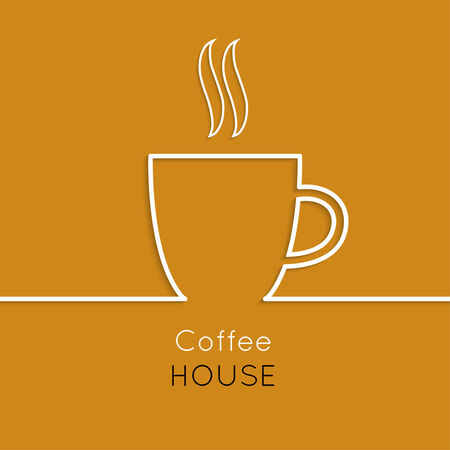 cafe bar: Abstract background with a cup of coffee from a white ribbon and text Coffee house. orange. for menu, restaurant, cafe, bar, coffeehouse.