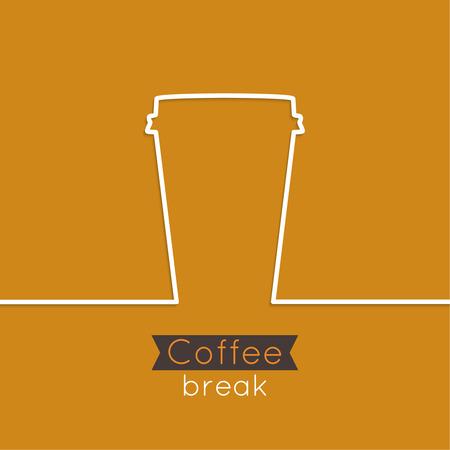 alimentos y bebidas: Fondo abstracto con la taza de caf� potable caliente. de una cinta y un texto Pausa caf� blanco. naranja. para el men�, restaurante, cafeter�a, bar, cafeter�a.