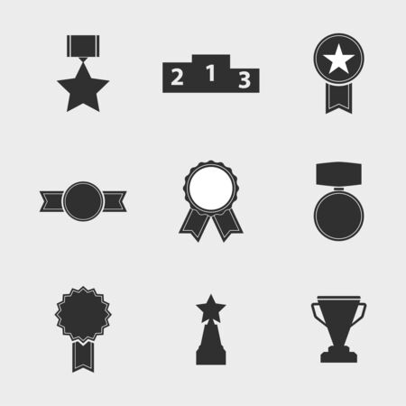 challenge: Set of vector icons of different awards, cup, ribbons, rosettes, medals for success. Sports trophies, podium, pedistal