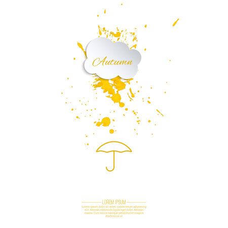 cloudburst: Ink splatter with small drops. Grunge vector hand drawn background. ink blot. Autumn. Cloud droplets with  umbrella. yellow Illustration