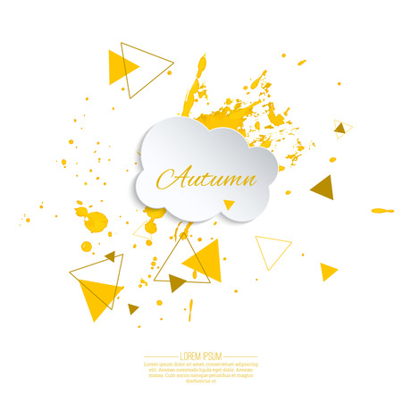 cloudburst: Ink splatter with small drops. Grunge vector hand drawn background. ink blot. Autumn. Cloud with yellow drops and hipster triangles