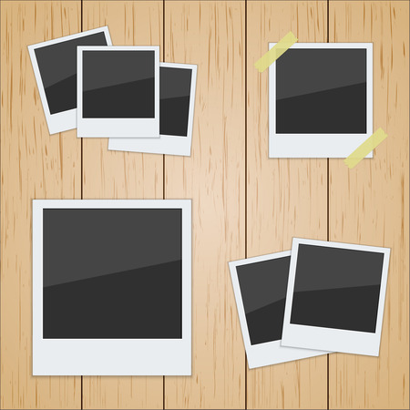 poloroid: Set of pictures on a wooden texture. Photo frame. poloroid vector Illustration