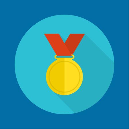 primer premio: Medalla de oro con cinta roja. un dise�o plano con una larga sombra. Primer Premio, el premio m�s importante logro primera ganadora Vectores