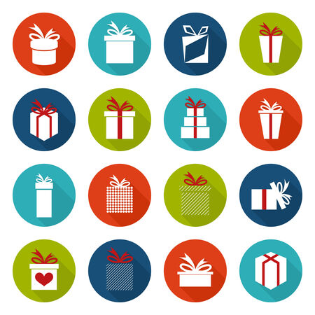 giftware: Set of icons with a variety of gift box and ribbons. Vector. flat design with long shadow Illustration