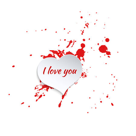 Ink splatter with small drops of red. Grunge vector hand drawn background. vector. ink blot. Paper heart and inscription I love you. for postcards, valentines, t-shirts design, print Vector