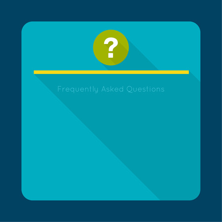 questionail: Question mark icon with long shadow. Help symbol. FAQ sign on a green background. vector Illustration