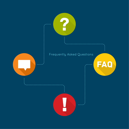 questionail: Exclamation mark icon. Attention sign icon. Question mark icon with long shadow. Help symbol. FAQ sign on a green background. vector. concept question answer. for mobile apps Illustration