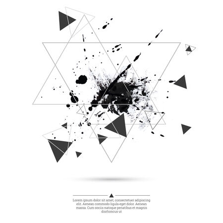 ink splatter: Abstract background with hipster triangles and ink splatter, black drop . Triangle pattern background. For cover book, brochure, flyer, poster, magazine, cd cover design, t-shirts design, print