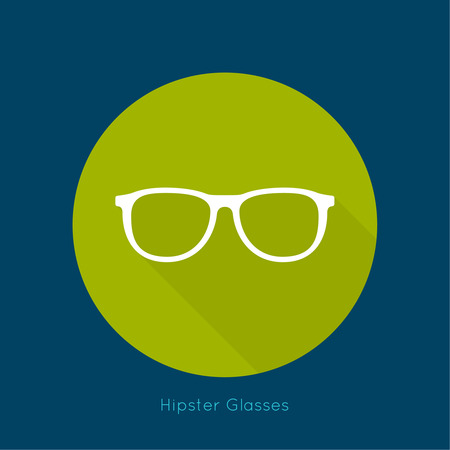corrective lenses: Geek glasses icon with long shadows. Hipster and nerd style. for mobile apps, web sites and pages, t-shirt design. green, blue, white