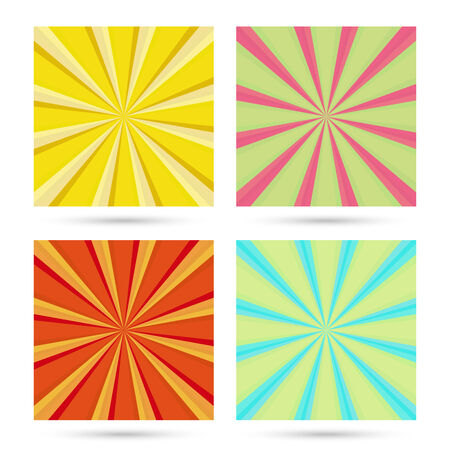 swirls vector: set of sunburst backgrounds. Colorful, bright rays. Vibrant beams. vector