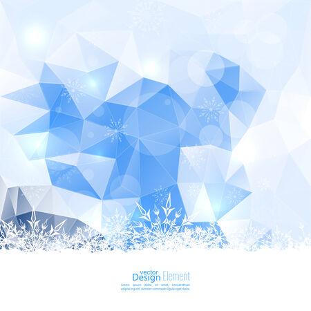 diamante: Moderno invierno resumen de antecedentes con los copos de nieve, tri�ngulos, malla poligonal, bokeh, las estrellas y las chispas. Feliz A�o Nuevo y Feliz Navidad. Tarjeta de felicitaci�n Vectores