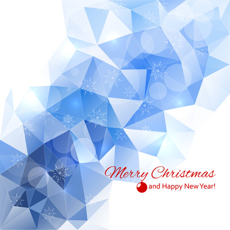 Modern winter abstract background with snowflakes, triangles, polygon mesh, bokeh, stars and sparks. Happy New Year and Merry Christmas. Greeting card