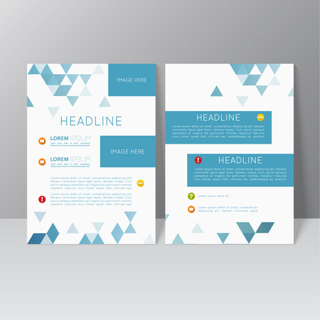 brochure layout: Vector brochure template design with triangles, icons and different elements. Flyer or booklet Layout. Illustration