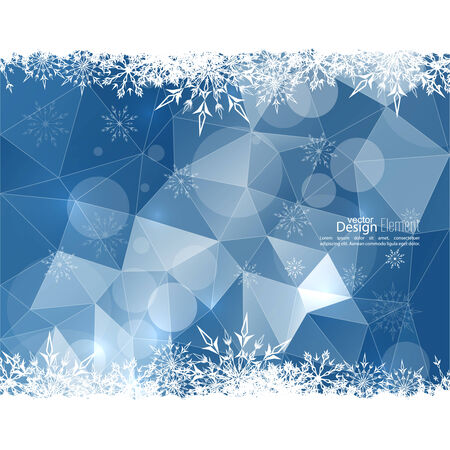 rime: Modern winter abstract background with snowflakes, triangles, polygon mesh, bokeh, stars and sparks. Happy New Year and Merry Christmas. Greeting card