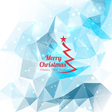 Modern winter abstract background with snowflakes, triangles, polygon mesh, bokeh, stars and sparks. Happy New Year and Merry Christmas. Greeting card Vector