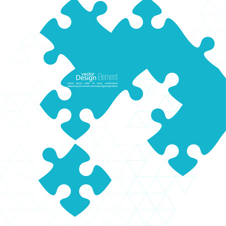 puzzle pieces: Vector abstract background from pieces of puzzle and a pattern of triangles. jigsaw.  Business concept of teamwork and making the right decisions. fix