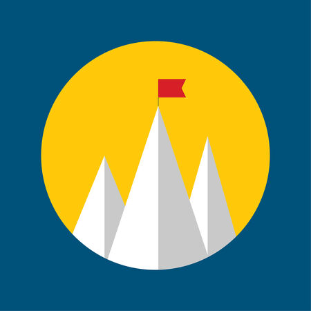 conquest: Vector abstract background with mountains and a red flag at the peak. The concept of overcoming difficulties to achieve winning results. Achieving the goal. Illustration