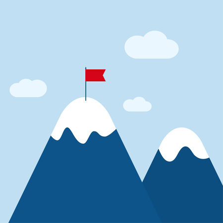 Vector abstract background with mountains and a red flag at the peak. The concept of overcoming difficulties to achieve winning results. Achieving the goal. Vector