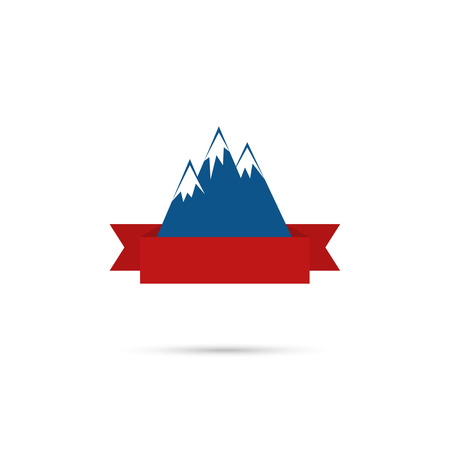 Mountains with ribbon for your text. Vector icon. Logo. Hiking, climbing, travel. Investigation of the Wild