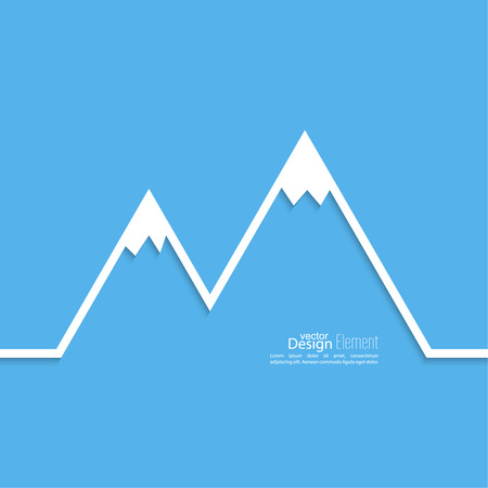 The mountains with snowy peaks. Vector icon. Logo. Hiking, climbing, travel. Investigation of the Wild