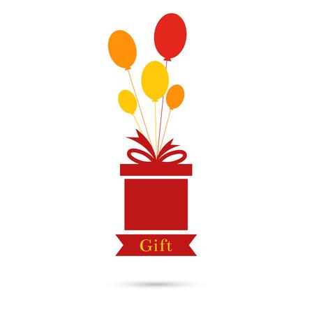 fiesta de cumpleanos: Resumen de fondo con caja de regalo, globos y la cinta. Invitaci�n a una fiesta de cumplea�os. fiesta