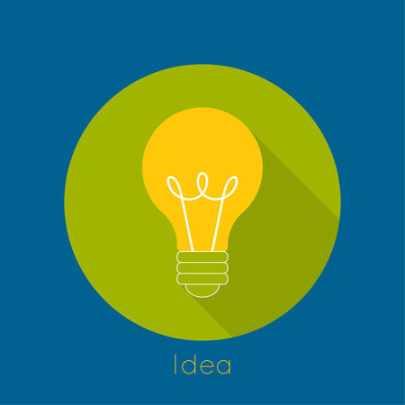 light shadow: Bulb light idea. flat design, long shadow. concept  of ideas inspiration innovation, invention, effective thinking