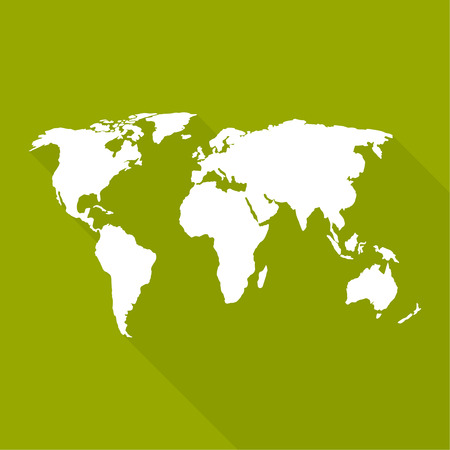 south east asia map: World map. a flat design, long shadow. For web and mobile app