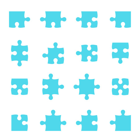 complete solution: Set of vector puzzle pieces. jigsaw. Illustration