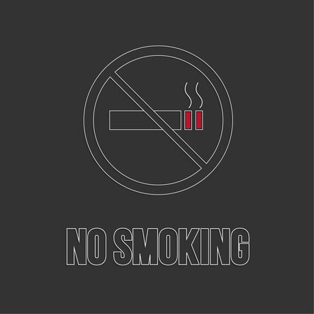 smoldering cigarette: No smoking sign. No smoke icon. Stop smoking symbol. Vector. Burning cigarette in a crossed circle. Area for non-smokers