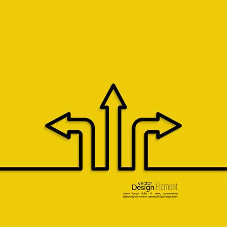 Fondo abstracto del vector con signo flecha de dirección. El concepto de la toma de decisiones de pie en cruce de carreteras. Movimiento en una dirección desconocida. elección incertidumbre