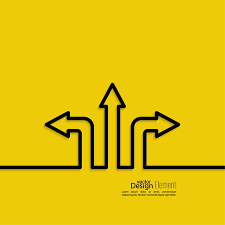 right choice: Vector abstract background with direction arrow sign. The concept of a decision making standing on road junction. Movement in an unknown direction. uncertainty choice Illustration