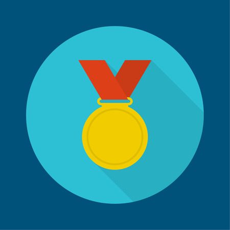 conqueror: Gold medal with red ribbon. a flat design with a long shadow. First Prize, the highest award accomplishment 1st winner