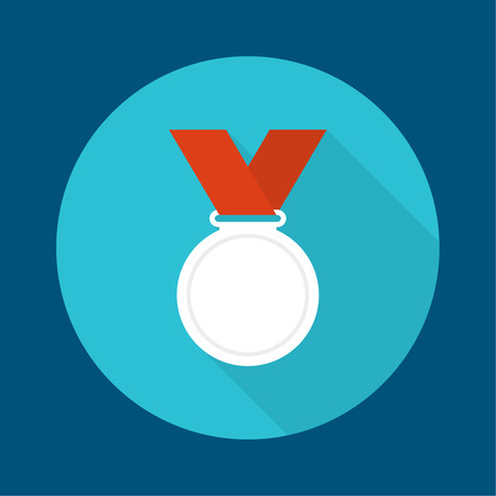 Silver medal with red ribbon. a flat design with a long shadow. second prize, award accomplishment. 2nd place