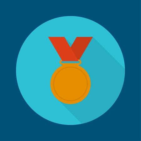 conqueror: Bronze medal with red ribbon. a flat design with a long shadow. third prize, award accomplishment. 3nd place Illustration