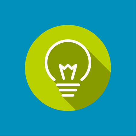 light bulb icon: Bulb light idea. flat design, long shadow. concept  of ideas inspiration innovation, invention, effective thinking