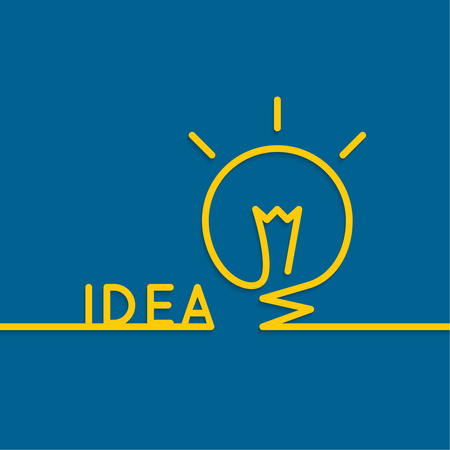 idea light bulb: Bulb light idea. flat design. concept  of ideas inspiration innovation, invention, effective thinking