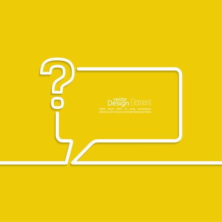 questionail: Question mark icon. Help symbol. FAQ sign on a yellow background. vector. Speech Bubbles and Chat symbol. Illustration