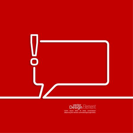 акцент: Восклицательный значок знак. Внимание значок знак. Символ опасности предупреждение в красном фоне. вектор. Речь Пузыри и общение символ.