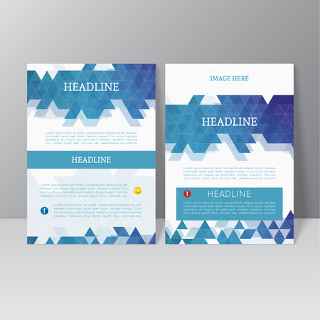 cover concept: Vector brochure template design with triangles, icons and different elements. Flyer or booklet Layout. Illustration