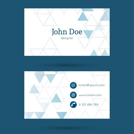 business card template: Business card or visiting card template with a triangular texture. Illustration