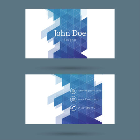 Business card or visiting card template with a triangular texture. Vector