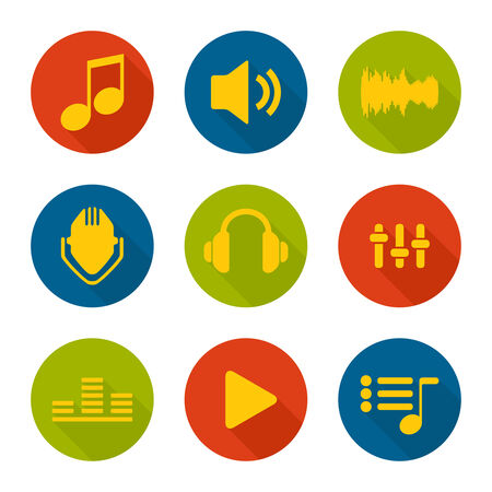playback: Set of vector icons music for app. flat design. Long Shadow