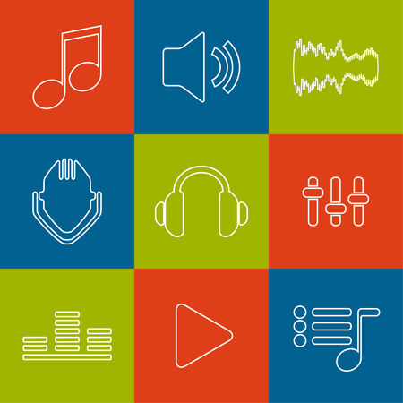 cd recorder: Set of vector icons music for app. flat design, metro, contour line