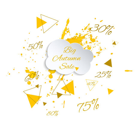 75 80: Ink splatter with small drops and hipster triangles. ink blot. Big Autumn sale. rain from the coupon interest. 25, 30, 50, 75, 80, 60, 40  percent. Seasonal discounts and hot deals. Clearance. Illustration